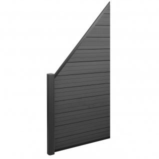 WPC-Sichtschutz Sarthe, Windschutz Zaun, Alu-Pfosten ~ Erweiterungselement schräg links, 0, 95m anthrazit