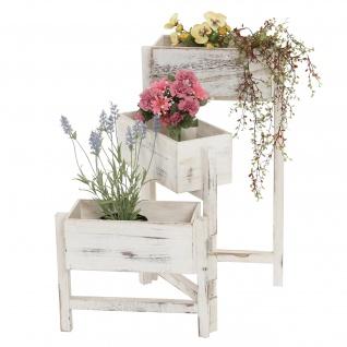 Pflanzregal, Blumenständer, Höhe: 65cm Shabby-Look ~ weiß