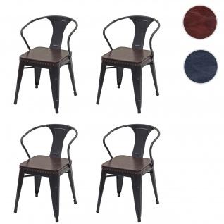4x Esszimmerstuhl HWC-H10d, Stuhl Küchenstuhl, Chesterfield Metall Kunstleder Industrial Gastronomie ~ schwarz-braun