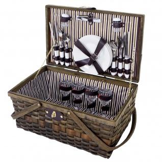 Picknickkorb-Set für 4 Personen, Picknicktasche Weiden-Korb, Porzellan Glas Edelstahl, braun-weiß