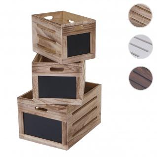 3er Set Holzkiste HWC-E11, Aufbewahrungsbox mit Tafel, Shabby-Look ~ naturbraun