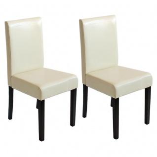 2x Esszimmerstuhl Stuhl Küchenstuhl Littau ~ Kunstleder, creme, dunkle Beine