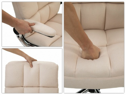 Bürostuhl HWC-J21, Chefsessel Drehstuhl Schreibtischstuhl, höhenverstellbar ~ Stoff/Textil creme-beige - Vorschau 4