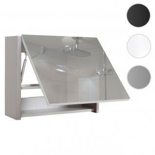 Spiegelschrank HWC-B19, Wandspiegel Badspiegel Badezimmer, aufklappbar hochglanz 48x59cm ~ grau
