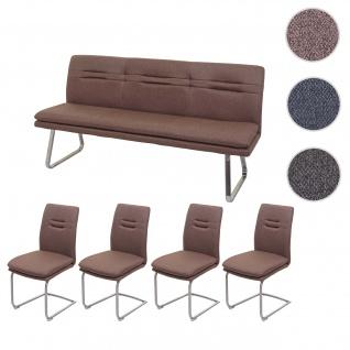 Esszimmer-Set HWC-H70, Esszimmergruppe Sitzgruppe Esszimmergarnitur, Stoff/Textil Edelstahl gebürstet ~ braun 180cm