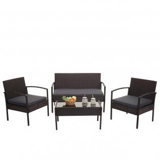 Poly-Rattan Garnitur HWC-F56, Balkon-/Garten-/Lounge-Set Sitzgruppe ~ braun, Kissen dunkelgrau - Vorschau 2