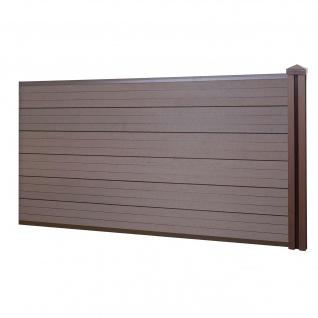 WPC-Sichtschutz Sarthe, Windschutz Zaun, WPC-Pfosten ~ Erweiterungselement niedrig, 1, 88m braun