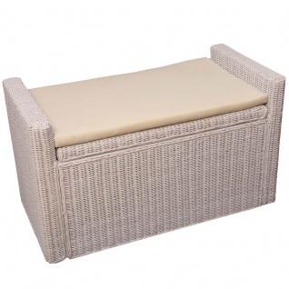 Sitzbank Sitzhocker mit Stauraum Rattan weiß 88cm