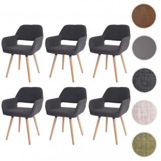6x Esszimmerstuhl HWC-A50 II, Stuhl Küchenstuhl, Retro 50er Jahre Design ~ Textil, grau, helle Beine