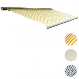 Elektrische Kassettenmarkise T122, Markise Vollkassette 4x3m ~ Polyester Gelb/Weiß