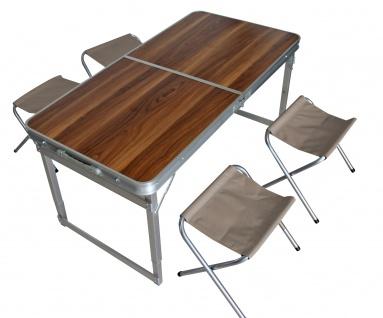 Camping-Set LD48, Campingtisch Klappstühle, klappbar Holzoptik, 120x60x70cm