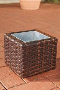 Poly-Rattan Blumenkübel CP001, Blumentopf ~ 17x20x20 cm, braun-meliert