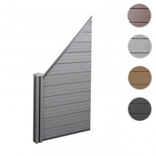 WPC-Sichtschutz Sarthe, Windschutz Zaun, WPC-Pfosten ~ Erweiterungselement schräg links, 0, 98m grau