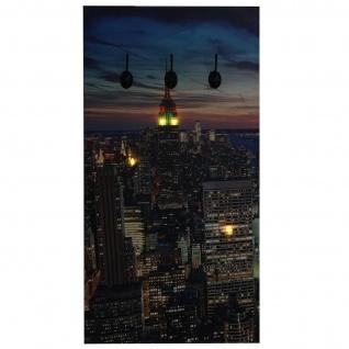 Foto-Wandgarderobe HWC-C75, Garderobe LED-Wandbild, 6 Haken 40x80cm, New York - Vorschau 3
