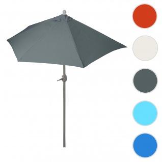 Sonnenschirm halbrund Parla, Halbschirm Balkonschirm, UV 50+ Polyester/Stahl 3kg ~ 300cm anthrazit ohne Ständer