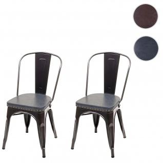 2x Esszimmerstuhl HWC-H10e, Küchenstuhl Stuhl, Chesterfield Metall Kunstleder Industrial Gastronomie ~ schwarz-grau - Vorschau 1