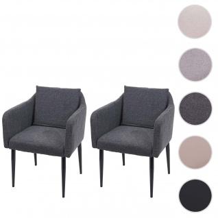 2x Esszimmerstuhl HWC-H93, Küchenstuhl Lehnstuhl Stuhl ~ Stoff/Textil dunkelgrau