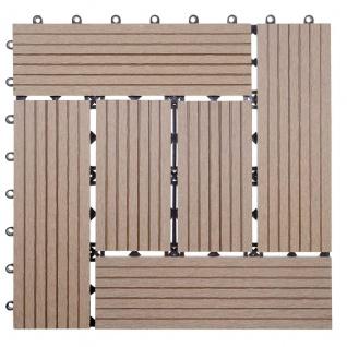 WPC Bodenfliese Rhone, Holzoptik Balkon/Terrasse, 11x je 30x30cm = 1qm ~ Basis, teak versetzt - Vorschau 3