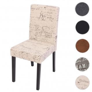 Esszimmerstuhl Littau, Küchenstuhl Stuhl, Stoff/Textil ~ Schriftzug creme, dunkle Beine