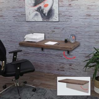 Wandtisch HWC-H48, Wandklapptisch Wandregal Tisch, klappbar Massiv-Holz ~ 100x50cm shabby braun - Vorschau 2