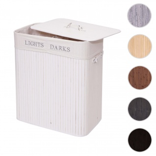 Wäschekorb HWC-C21, Laundry Wäschebox Wäschesammler Wäschebehälter, Bambus 2 Fächer 63x55x34cm 100l ~ weiß