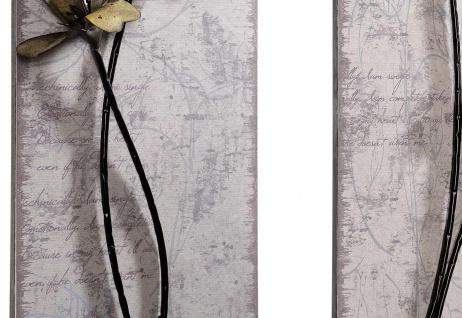 2er Set Wanddekoration H52, Wand-Deko Metalldekoration, Blüten II - Vorschau 2