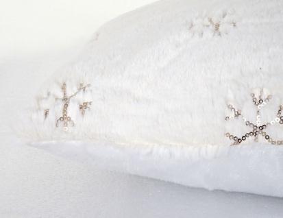 Deko-Kissen Schnee, Sofakissen Zierkissen mit Füllung, flauschig weiß Pailletten 45x45cm - Vorschau 4