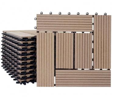 WPC Bodenfliese Rhone, Holzoptik Balkon/Terrasse, 11x je 30x30cm = 1qm ~ Basis, teak versetzt - Vorschau 4