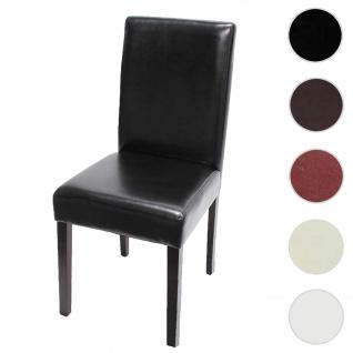 Esszimmerstuhl Littau, Küchenstuhl Stuhl, Leder ~ schwarz, dunkle Beine