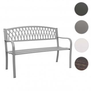 Gartenbank HWC-F45, Bank Parkbank Sitzbank, 2-Sitzer pulverbeschichteter Stahl ~ grau