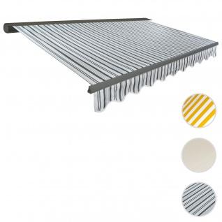 Elektrische Kassettenmarkise T122, Markise Vollkassette mit Volant 4x3m ~ Polyester Grau/Weiß, Rahme
