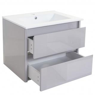 Waschbecken + Unterschrank HWC-B19, Waschbecken Waschtisch Badezimmer, hochglanz 50x60cm grau