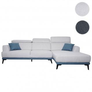 Sofa HWC-G44, Couch Ecksofa L-Form 3-Sitzer, Liegefläche Nosagfederung Taschenfederkern verstellbar ~ rechts, hellgrau