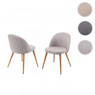 2x Esszimmerstuhl HWC-D53, Stuhl Küchenstuhl, Retro 50er Jahre Design, Stoff/Textil ~ hellgrau