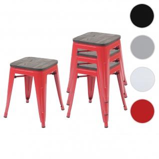 4x Hocker HWC-A73 inkl. Holz-Sitzfläche, Metallhocker Sitzhocker, Metall Industriedesign stapelbar ~ rot