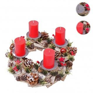 Adventskranz HWC-H50, Weihnachtsdeko Adventsgesteck Weihnachtsgesteck, Holz rund Ø 33cm ~ inkl. 4x Kerzen rot