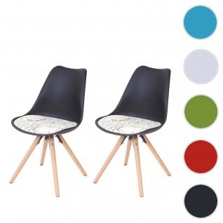 2x Esszimmerstuhl Malmö T501, Retro Design ~ schwarz, Sitzfläche Textil Schriftzug, helle Beine