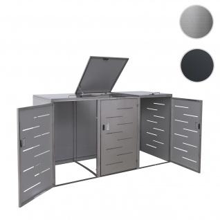 3er-Mülltonnenverkleidung HWC-E83, Mülltonnenbox Mülltonnenabdeckung, erweiterbar 108x61x76cm ~ Edelstahl