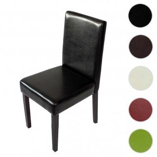 Esszimmerstuhl Littau, Küchenstuhl Stuhl, Kunstleder ~ schwarz, dunkle Beine
