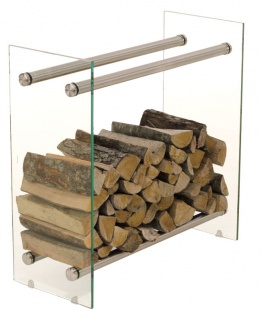 Kaminholzständer CP317, Feuerholzregal, Klarglas ~ 35x80x150cm
