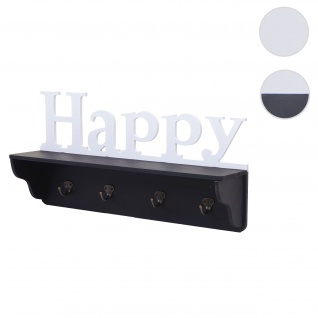 Wandgarderobe HWC-D41 Happy, Garderobe Regal, 4 Haken massiv 30x60x13cm ~ schwarz/weiß
