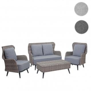 Poly-Rattan Gartengarnitur HWC-G53, Lounge-Set Sofa Sitzgruppe, Spun Poly ~ grau, Polster hellgrau