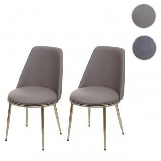 2x Esszimmerstuhl HWC-H28, Stuhl Küchenstuhl, Metall ~ taupe-grau, goldfarbene Beine, Kunstleder