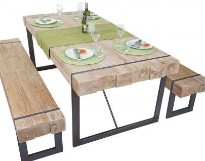Esszimmergarnitur HWC-A15, Esstisch + 2x Sitzbank, Tanne Holz rustikal massiv