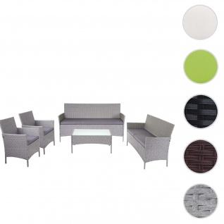 3-2-1-1 Poly-Rattan Garten-Garnitur Halden, Lounge-Set Sitzgruppe Sofa ~ grau, Kissen anthrazit