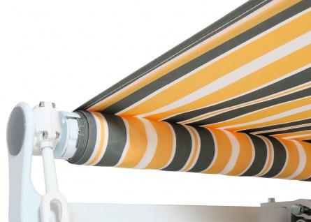 Alu-Markise HWC-E49, Gelenkarmmarkise Sonnenschutz 2, 5x2m ~ Polyester grau-gelb gestreift - Vorschau 4