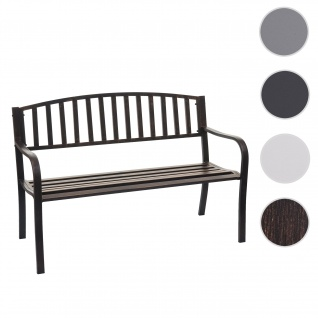 Gartenbank HWC-F43, Bank Parkbank Sitzbank, 2-Sitzer pulverbeschichteter Stahl ~ vintage bronze