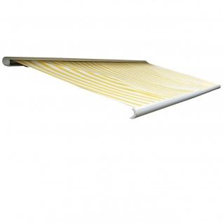 Elektrische Kassettenmarkise T123, Markise Vollkassette 4, 5x3m ~ Polyester Gelb/Weiß