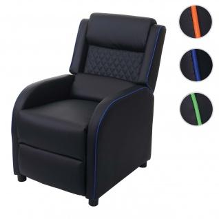 Fernsehsessel HWC-J27, Relaxsessel Liege Sessel TV-Sessel, Kunstleder ~ schwarz-blau