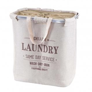 Wäschesammler HWC-C34, Laundry Wäschebox Wäschekorb Wäschebehälter mit Kordelzug, 2 Fächer Henkel 54x52x32cm 89l - Vorschau 3